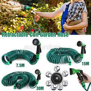 Garden EVA Retractable Coil Hose Pipe With 7 Function Water Spray Gun Nozzle -/
