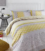 BANDED FLORAL BIRD YELLOW GREY COTTON BLEND KING SIZE 6 PIECE BEDDING SET