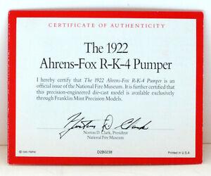 FRANKLIN MINT 1:24 SCALE 1922 AHRENS-FOX FIRE PUMPER TRUCK - COA ONLY