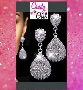 Crystal Diamante Long Drop Silver Bridal Prom Evening Fashion Earrings UK