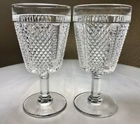 "Vintage 1974 Fostoria Diamond Point Clear Crystal Wine Water Glass Set (2) 5.75"""