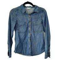 Eileen Fisher Denim Button Down Shirt Jean Classic Chambray Blue Women PP