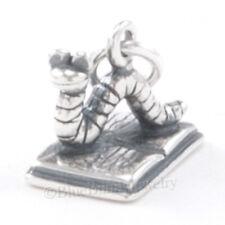 BOOK WORM Charm Teacher Pendant School Reading Writing STERLING SILVER 925 3D
