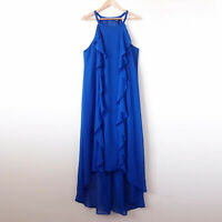 CITY CHIC Cobalt Blue Dewberry Chiffon Ruffle Long Maxi Dress Size M 18 Plus