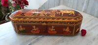 Vintage wooden lord Krishna painted jewellery box traditional trinket box gift