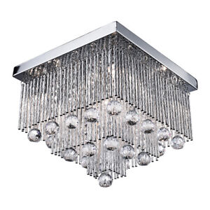 Searchlight 5 Lights Crystal Drops Chrome Ceiling Chandelier Fitting Light New