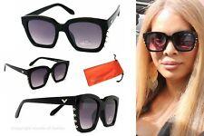 Damen Sonnenbrille Luxus Nieten XL Sexy Gothik Rocker Spikes Schwarz Lila SR3