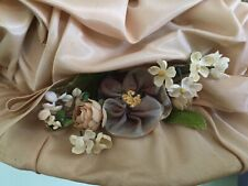 Vintage Gathered Satin Hat with Ribbon & Silk Millinery Flowers