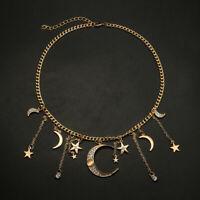 Women Boho Fashion Crystal Moon Star Pendant Necklace Statement Choker Jewelry