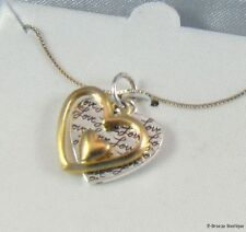 """Double Heart Pendant Necklace Two Tone Sterling Silver """"Love"""""""