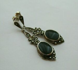 GORGEOUS VINTAGE STERLING SILVER ONYX & MARCASITE DROP DANGLE EARRINGS - VGC