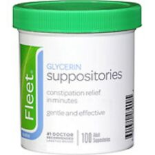 Fleet Adult Glycerin Suppositories Laxative 100CT  Exp 11/2019   Free Shipping!!