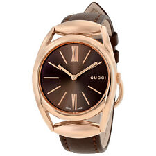 Gucci Horsebit Brown Dial Brown Leather Ladies Watch YA140408