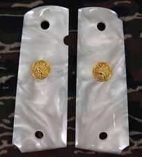 RESIN WHITE PEARL COLT 1911 1991 FULL SIZE GOLD MEDALLION HANDMADE GRIPS PISTOL