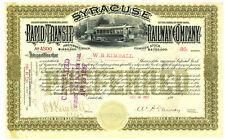 Syracuse Rapid Transit. Stock Certificate  New York. 1897