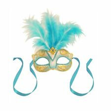Blue Centre Feather Glitter Mask Venetian Style Masquerade Ball Party Face Mask