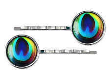 Colorful Rainbow Peacock Feather Gypsy Silver Glass Hair Clips Barrette Set