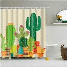 Shower Curtain Art Bathroom Decor Plants Cactus Design Curtains +12 pcs hooks