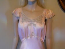 Vintage Jean Harlow Style Glossy Pink Ecru Lace Long Empire Chemise Gown