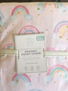 POTTERY BARN KIDS Rainbow Cloud Organic Pink FULL/QUEEN Duvet - NEW