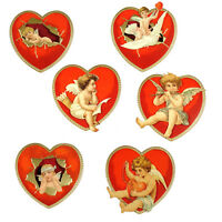 6 Edwardian Heart Shaped Romantic Greeting or Valentine Cards