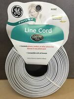 NEW, GE 100 ft. White Telephone Line Cord WHITE