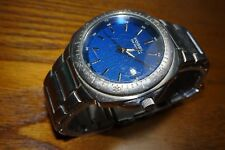 Fossil Blue Mens All Stainless Steel Watch w/Blue Dial AM-3927 Date
