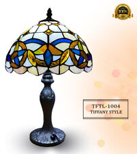 """NEW TIFFANY STYLE 10"""" SHADE ART DECO STAINED GLASS TABLE LAMP E27 BULB UK PLUG"""