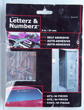 """Chroma Letterz Numberz 94 Piece Letter Number Silver Decals 2"""" Alphabet Stickers"""