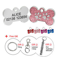 Bling Glitter Personalized Dog ID Tag Pet Name Engraved Bone Shaped Collar Tags