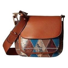 Purse Sam Edelman $248 NWT Ryan Patchwork Leather Saddle Bag Cognac Crossbody