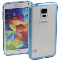 LIGHT BLUE SAMSUNG GALAXY S5 CASE HARD BACK CLEAR TPU SILICONE BUMPER COVER M73