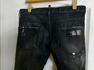 Dsquared2 Clement Jeans. Skinny Stretch. Black Distressed. Size 44. Waist 31...