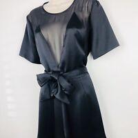 Kate Moss Topshop Black Sheer Playsuit 8 36 Party Tie Waist Belt Wedding RRP £75