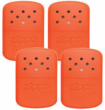 Zippo Set of 4 Orange Refillable Deluxe Hand Warmers with Fill Cup & Warming Bag