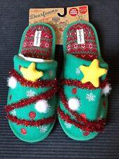 Dluxe Dearfoams Slide Memory Foam Slippers Ugly Tinsel Christmas Tree Men's 9-10