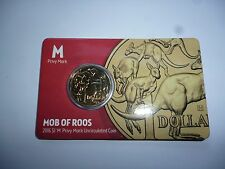 2016 Mob of Roos, $1 'M' Privy Mark Unc Coin, ANDA Show. RARE--ONLY 3000 issued