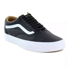 VANS OLD SKOOL leather SHOES BLACK , white outsole SNEAKERS MS 8 -WS 9.5 new