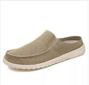 New Mens Canvas Round toe Flats Slip on Loafers Half Slippers Casual Mules Shoes