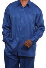 Men's 2pc Walking Suit Long Sleeve Casual Shirt w/ Pants Set 2752