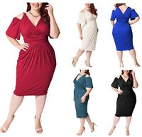Cold shoulder Evening Dress Bodycon,Plus size office wear,Maternity suitable 013