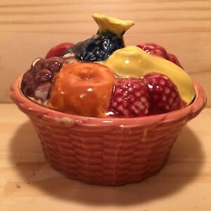"""SWEET FRUIT BASKET """"Pink"""" Beautiful Bowl with Lid Decorative Pottery Dish"""