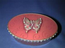 ***Pink Enameled Metal Bejeweled Dimensional Butterfly Oval Trinket Box Swirls