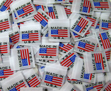100 PCS WOVEN GARMENT SEWING LABELS, AMERICAN FLAG MADE IN U.S.A.