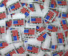 50 PCS WOVEN GARMENT LABELS, WHITE AMERICAN FLAG MADE IN U.S.A.