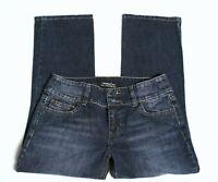 Women's London Jeans Crop Capri Denim Blue Stretch Low Rise Dark Wash Size 4