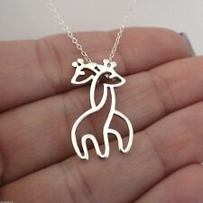 Hugging Giraffes Necklace - 925 Sterling Silver - Giraffe Long Necks Safari