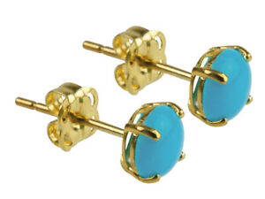 100% NEW 9K Gold 1.0cts Turquoise Cabochon Stud Earrings. December Birthstone
