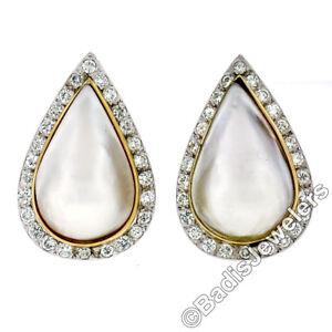 Vintage 14K TT Gold Large Pear Mabe Pearl 1.75ct Diamond Teardrop Button Earring