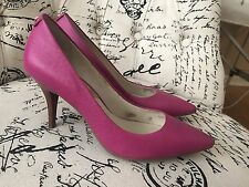 Michael Kors Mid Flex Pump Women Saffiano Leather Fuschia Pink Heels (Size 9)